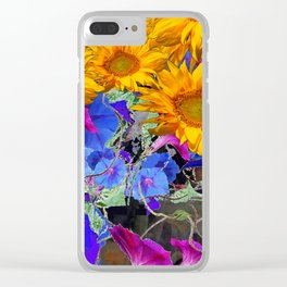 LARGE YELLOW SUNFLOWERS & BLUE MORNING GLORIES FLORAL Clear iPhone Case