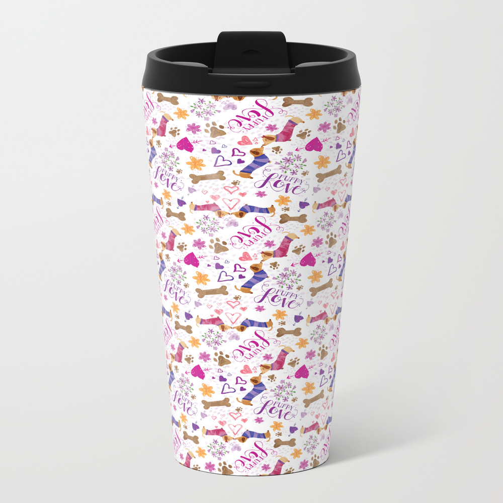 Doxie Puppy Love Pattern Travel Cup TRM8856862