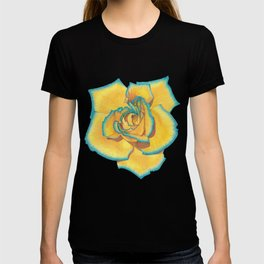 Yellow and Turquoise Rose T-shirt