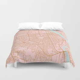 Pink and gold Phnom Penh map, Cambodia Duvet Cover