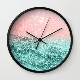 Summer Vibes Glitter #4 #coral #mint #shiny #decor #art #society6 Wall Clock