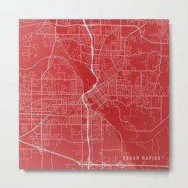 Cedar Rapids Map, USA - Red Metal Print