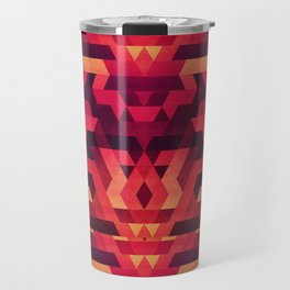 Abstract red geometric triangle texture pattern design (Digital Futrure - Hipster / Fashion) Travel Mug