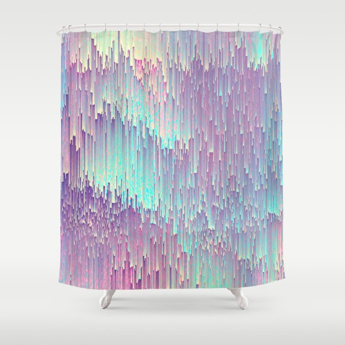 Iridescent Glitches Shower Curtain