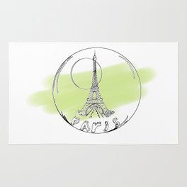 paris in a glass ball . green pastel colors Rug