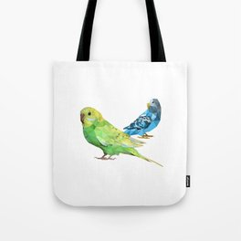 Geometric green and blue parakeets Tote Bag