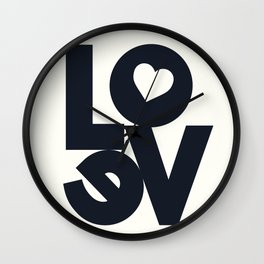 Love, tyopgraphy illustration, gift for her, people in love, be my Valentine, Romantic lettering Wall Clock