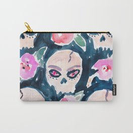 Skulls and Hibiscus Carry-All Pouch