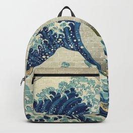 Brick Wall Painting Japanese Great Wave off Kanagawa - Urban Artist Backpack