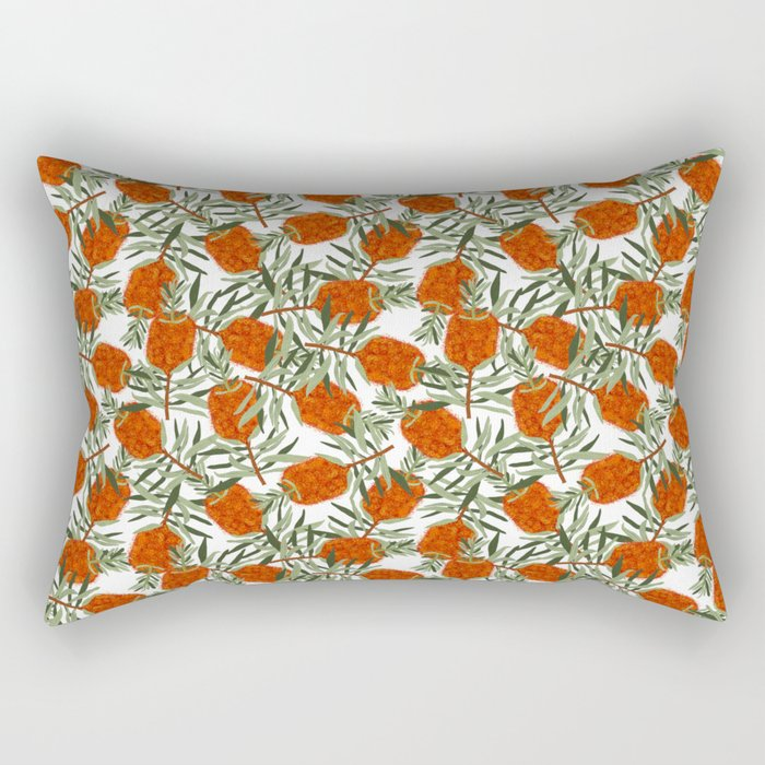 Bottlebrush Flower - White Rectangular Pillow