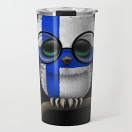 Baby Owl with Glasses and Finnish Flag Travel Mug