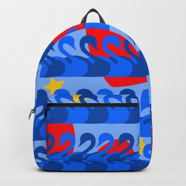 Graceful Blue Swans and Red Hearts Pattern Backpack