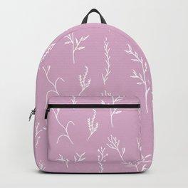 Modern spring pink lavender floral twigs hand drawn pattern Backpack
