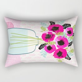 Poppies Vase of flowers cut flower mother's day cute florals illustration Andrea Lauren Rectangular Pillow