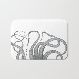 Vintage kraken octopus tentacles nautical antique sea creature steampunk graphic print Bath Mat