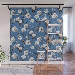 Peonies in Her Dreams Mono Blue Wall Mural