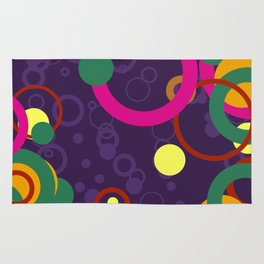 Abstract Pink and Purple Circle Pattern - Colorful Art Rug