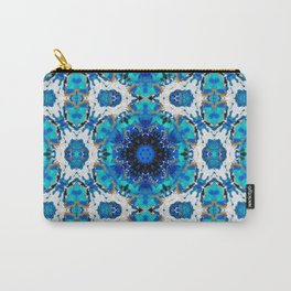Ripples (Blue, White, Black & Gold Acrylic - 60° Kaleidoscope Pattern Small) Carry-All Pouch