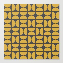 Scandinavian Half Circles (Spicy Mustard, Charcoal Black) Canvas Print