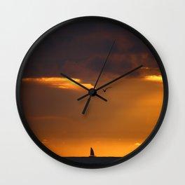 Saiboat at Sunset Wall Clock