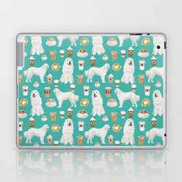 Great Pyrenees coffee lover pattern print gifts for dog breed unique dog person Laptop & iPad Skin