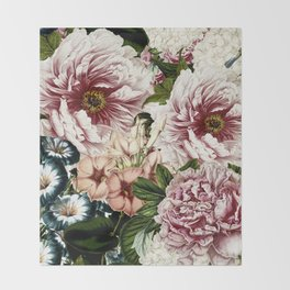 Vintage Peony and Ipomea Pattern - Smelling Dreams Throw Blanket