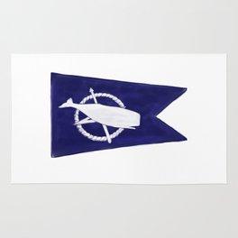 Nantucket Blue and White Sperm Whale Burgee Flag Hand-Painted Rug