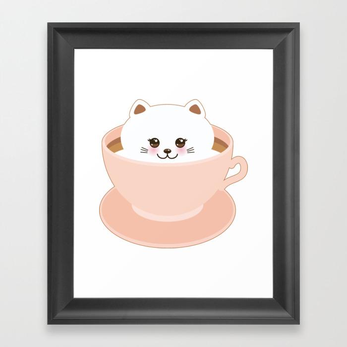Cute Kawai Cat In Pink Cup Framed Art Print by Ekaterinap FRM8692774