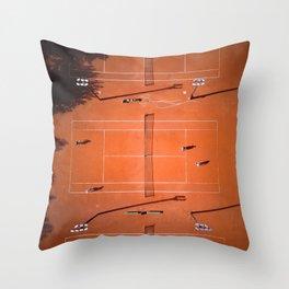 Tennis court orange Throw Pillow