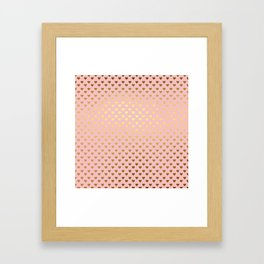 Gold and pink sparkling and shiny Hearts pattern Framed Art Print