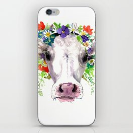 Cow and Flowers, Cow head floral Farm iPhone Skin