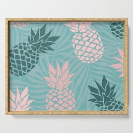 Tropical Pineapple and Palm Leaf Pattern, Teal and Pink Serving Tray