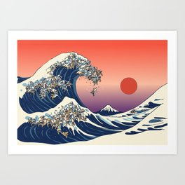 The Great Wave of English Bulldog Art Print