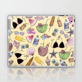Summer Cute Girly Beach Collage on Yellow Laptop & iPad Skin