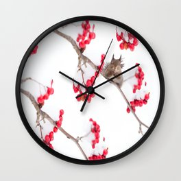 Cute Squirrel With Red Rowan Berries On A White Background #decor #society6 #buyart Wall Clock
