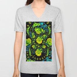 YELLOW ROSE & BLUE RIBBONS ON BLACK ART Unisex V-Neck