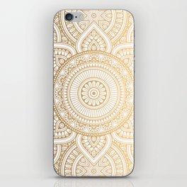 Gold Mandala Pattern Illustration With White Shimmer iPhone Skin