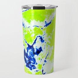 Brilliant Lime and Cobalt Blue Ink Water on Paper Travel Mug