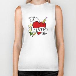 I Love Math with a Pencil Biker Tank