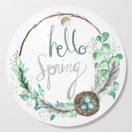 Hello Spring Eucalyptus Wreath with Nest Cutting Board