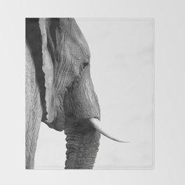 Black and white elephant portrait Throw Blanket