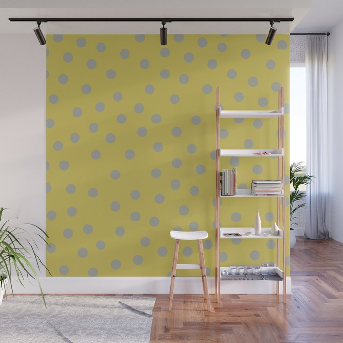 Simply Dots Retro Gray on Mod Yellow Wall Mural
