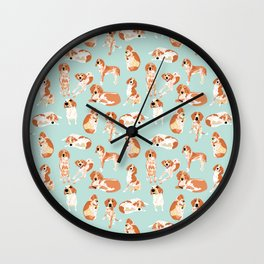Redtick Coonhound on Light Blue Wall Clock