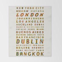 Travel World Cities Throw Blanket