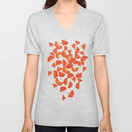 Tumbling Ginkgo Red Unisex V-Neck