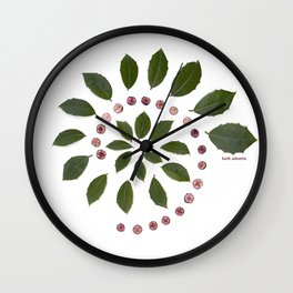 nature mandala... holly leaves, cranberries Wall Clock