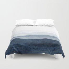 Indigo Abstract Watercolor Mountains Duvet Cover