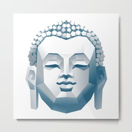 Silver Buddha Head Metal Print