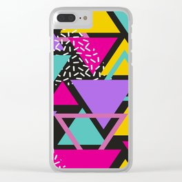 Memphis Triangles Clear iPhone Case