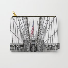 The Brooklyn Bridge and American Flag Carry-All Pouch